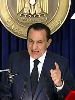 Presidente Hosni Mubarak, em pronunciamento oficial nesta terça-feira (01/02)