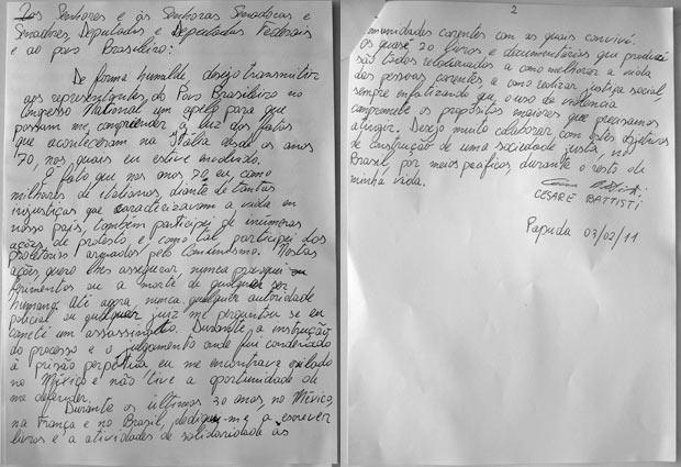 A carta de Cesare Battisti apresentada pelo senador Eduardo Suplicy (Foto: Reprodução)