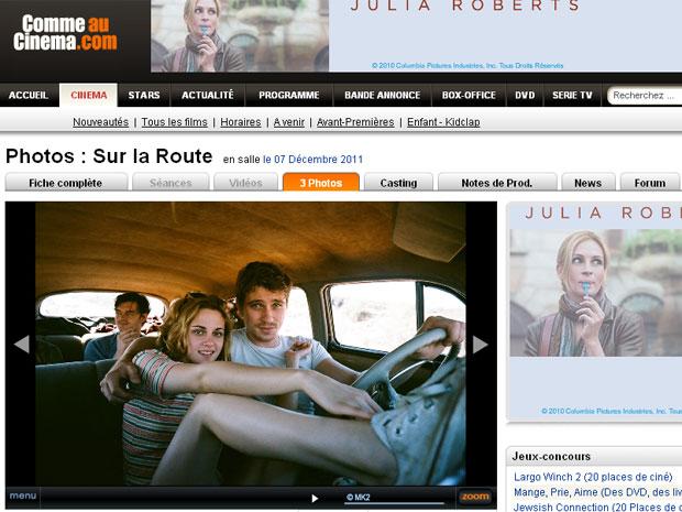 Kristen Stewart em cena de 'On the road' (Foto: Reprodução/Comme Au Cinema)