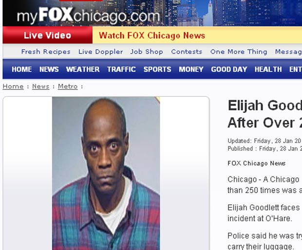 Elijah Goodlett, de 53 anos, foi preso mais de 250 vezes. (Foto: Reprodução)