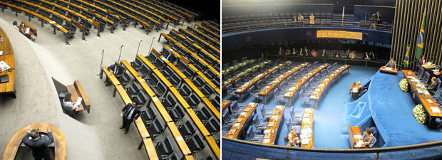 Imagens de sessões esvaziadas na Câmara (esq.) e Senado nesta quinta (3) (Foto: Fábio Tito / G1)