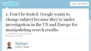 Frank Shaw, diretor de comunicação da Microsoft, briga com o 'pessoal' do Google por meio do Twitter (Foto: Reprodução)