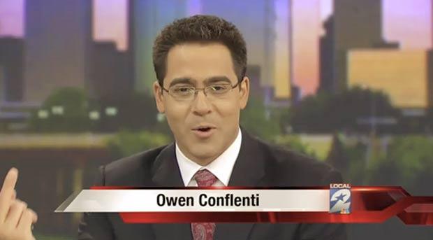 Brincadeira de Owen Conflenti acabou indo ao ar. (Foto: Reprodução)