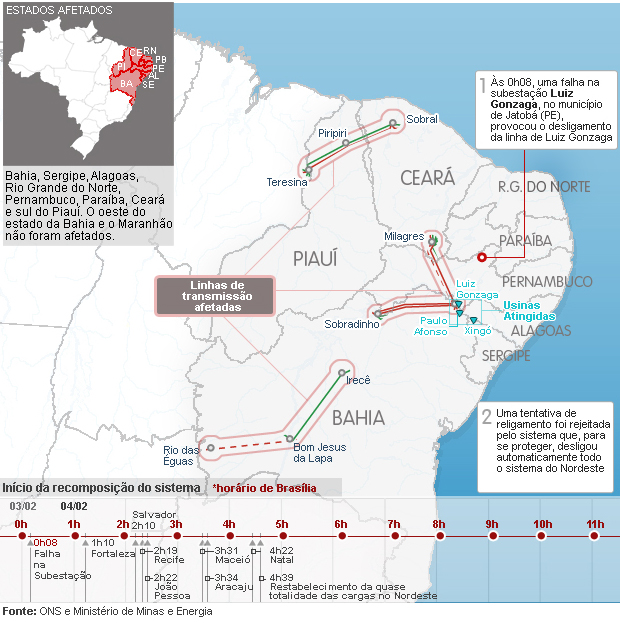 Mapa das linhas de transmissão afetadas (Vale esta) (Foto: Editoria de Arte/G1)