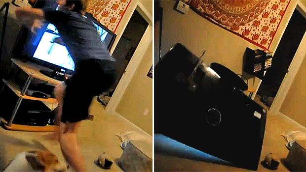 """Um vídeo em que um jogador quebra uma TV de plasma enquanto jogava no console Wii Fit virou hit na web, alcançando mais de 650 mil visualizações no YouTube. O jogador estava jogando um game de corrida de esqui, quando em um """"pulo"""", ele se desequilibrou e derrubou a TV de plasma. (Foto: Reprodução/YouTube)"""