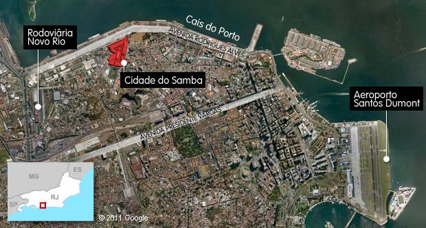 Mapa da cidade do samba (Foto: Arte G1)