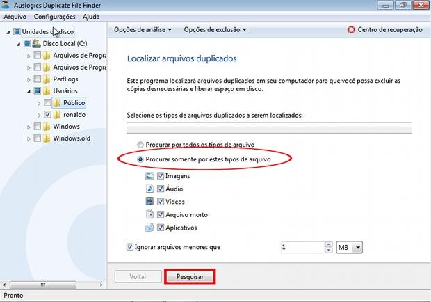 Auslogics Duplicate File Finder é programa que identifica diversos formatos de arquivos duplicados (Foto: Reprodução)