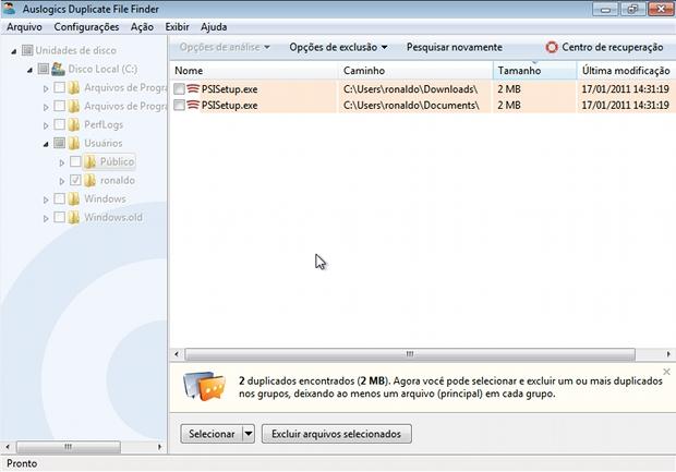 Arquivos duplicados identificados pelo Auslogics Duplicate File Finder (Foto: Reprodução)