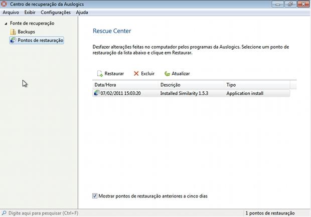 Centro de recuperação da Auslogics, é uma funcionalidade oferecida para facilitar manutenção de arquivos (Foto: Reprodução)