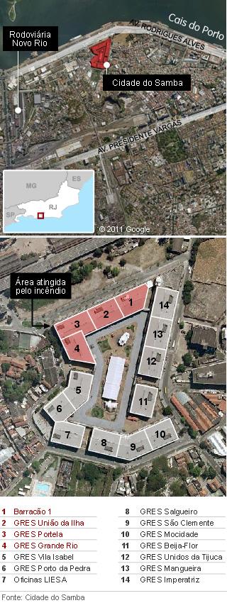 Mapa Cidade do Samba (Foto: Arte G1)