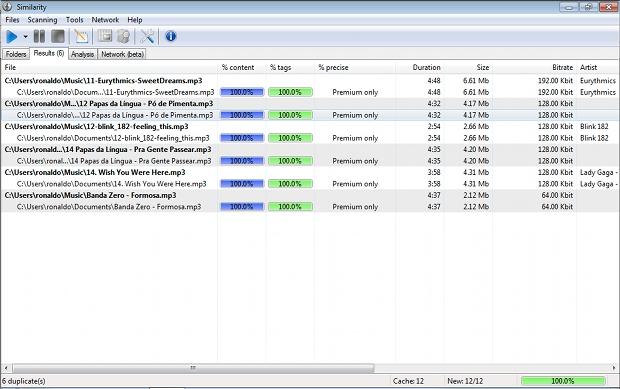 Arquivos duplicados identificados pelo programa Similarity (Foto: Reprodução)