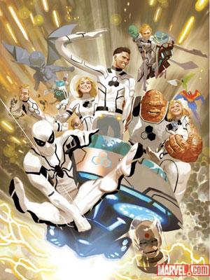 Ilustração para o primeiro número da HQ 'FF', que reúne membros do Quarteto Fantástico e o Homem-Aranha (Foto: Divulgação/Marvel Comics)