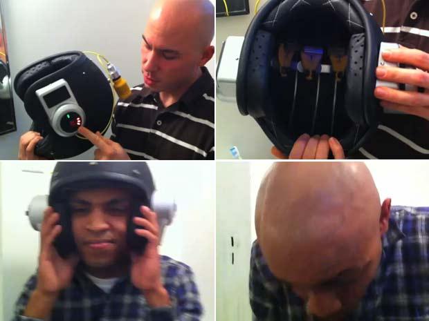 Capacete é capaz de raspar o cabelo em apenas 20 segundos. (Foto: Reprodução)