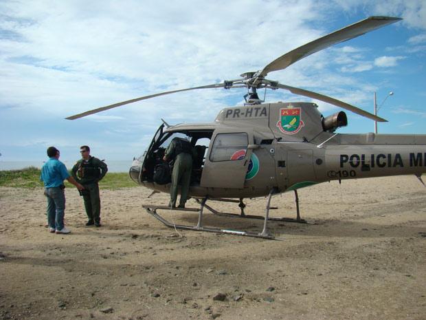 Helicóptero usado no salvamento do pescador em Santa Catarina (Foto: Divulgação/Batalhão de Aviação da Polícia Militar de Santa Catarina)