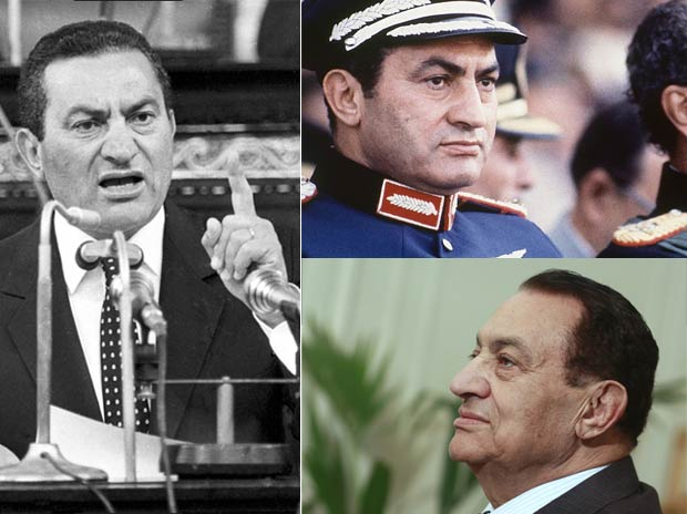Fotos históricas de Mubarak: à esquerda, ele fala ao Parlamento em abril de 1987; à direita, no topo, Em 1981, como vice-presidente;  abaixo, em encontro com o presidente da Autoridade Palestina, Mahmoud Abbas, em 2011 (Foto: AP/Arquivo)