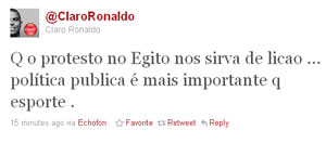 Ronaldo comenta ren&#250;ncia de Mubarak no Twitter (Foto: Reprodu&#231;&#227;o)