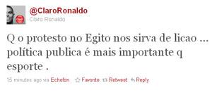 Ronaldo comenta renúncia de Mubarak no Twitter (Foto: Reprodução)