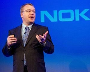 Presidente da Nokia, Stephen Elop, em anúncio com a Microsoft na sexta-feira (11) (Foto: Leon Neal/AFP)