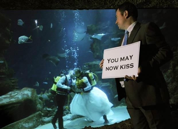 Kathryn O'Connor e James Oliver se casaram dentro de um aquário. (Foto: Adrian Dennis/AFP)