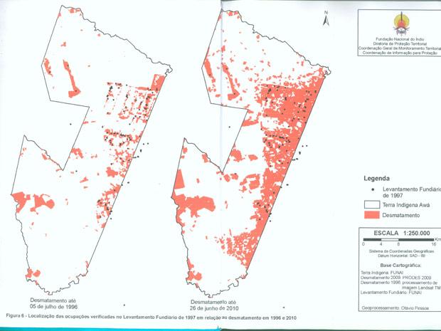 Mapa Awá Guajá (Foto: Survival/ Funai/ Divulgação)