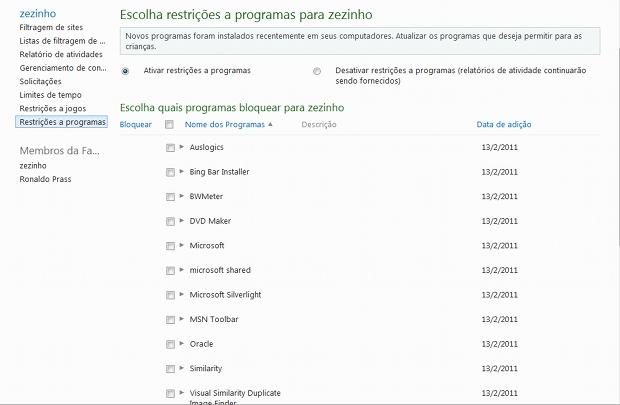 Relação de programas instalados no PC que podem ser liberados ou não ao usuário (Foto: Reprodução)