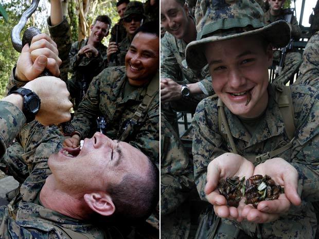 Militar americano (à esquerda) bebe sangue cobra durante um exercício de sobrevivência na selva em exercício na província Chon Buri, na Tailândia. Mais de 13 mli soldados das forças armadas da Malásia, Coreia do Sul, Tailândia, Singapura, Indonésia e Estados Unidos estão participando do treinamento na Tailândia. Militares também tiveram que comer insetos. (Foto: Sukree Sukplang/Reuters)
