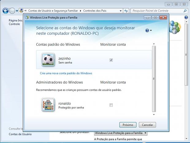 Selecionando a conta de usuário que será monitorada pelo Windows através do Controle dos Pais (Foto: Reprodução)