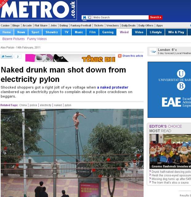 Mir Wei protestou subindo nu em um fio de alta tensão. (Foto: Reprodução/Metro)
