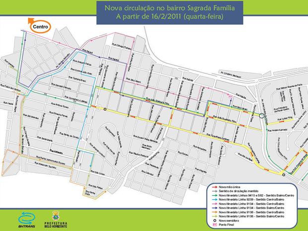 Ruas dos bairros Sagrada Fam�lia e Cidade Nova sofrem altera��es a partir desta quarta (16) (Foto: Divulga��o/BHTrans)
