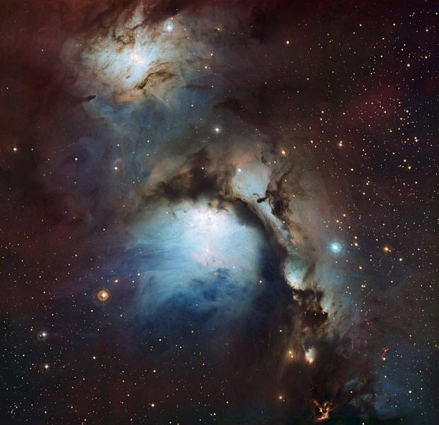 A nebulosa Messier 78, a 1.350 anos-luz de distância da Terra, foi fotografada pelo telescópio MPG/ESO no Observatório La Silla, no Chile. O local faz parte do Observatório Europeu do Sul (ESO, na sigla em inglês). A foto foi divulgada nesta quarta-feira (16) e mostra uma nebulosa que reflete a radiação ultravioleta de estrelas ao redor. Messier 78 pode ser vista com um telescópio pequeno na direção da constelação de Órion, entre o grupo de estrelas conhecido como Três Marias. (Foto: Igor Chekalin / ESO)