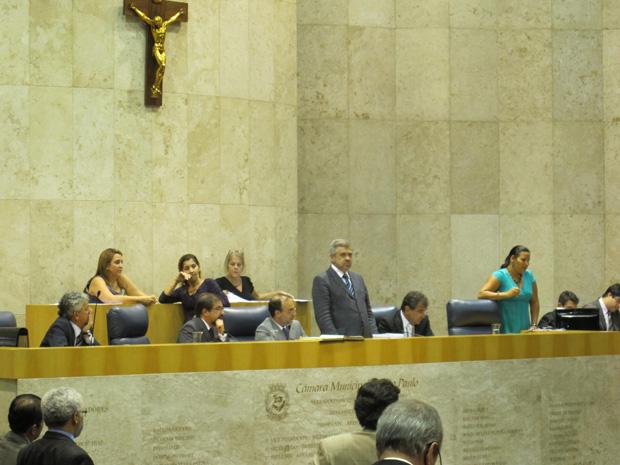 Sessão da Câmara de SP onde foi feito o comunicado oficial sobre a devolução do reajuste salarial (Foto: Roberta Steganha/ G1)