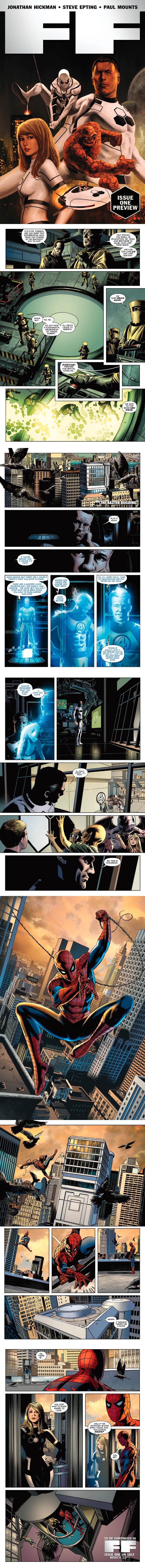 Prévia da nova série do Quarteto Fantástico, agora sem o Tocha-Humana, morto na edição anterior durante uma batalha. O Homem-Aranha vai substituí-lo na equipe. (Foto: Divulgação/Marvel)
