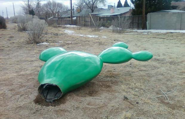 Escultura de cacto foi parar por engano em lixão. (Foto: AP)