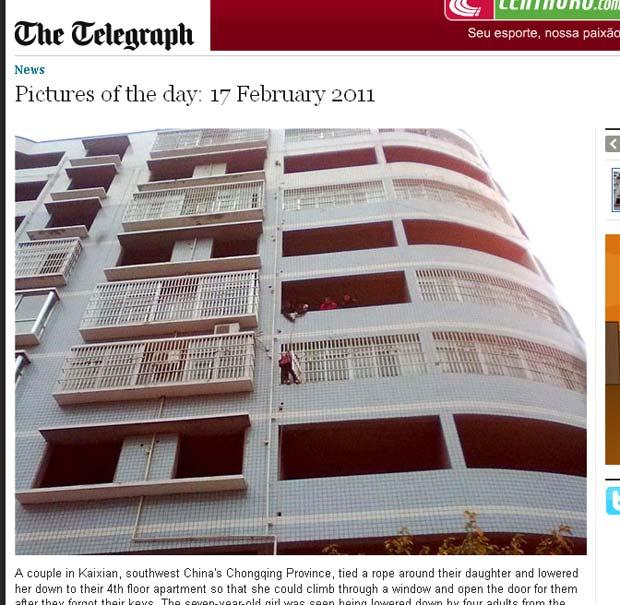 Menina foi baixada de um apartamento no 5º andar para o andar abaixo. (Foto: Reprodução/Daily Telegraph)