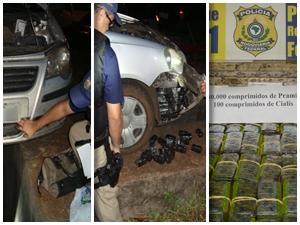 Comprimidos estavam escondidos no para-choques do carro (Foto: Divulgação PRF)