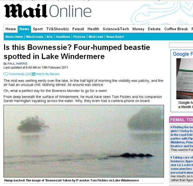 Criatura que casal diz ter fotografado em lago. (Foto: Reprodução/Daily Mail)