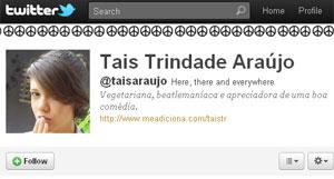 Tais Araújo, @taisaraujo no Twitter, é confundida com a atriz (Foto: Reprodução)