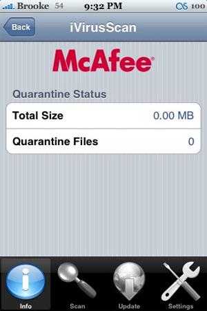 Tecnologia de antivírus da McAfee para iPhone, em 2008. Hoje, empresa se concentra em software de conformidade. (Foto: Divulgação)