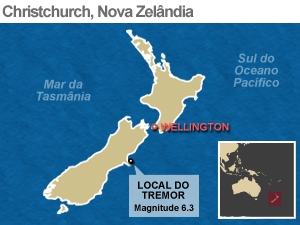Mapa localiza local do tremor na Nova Zelândia (Foto: Editoria de Arte / G1)