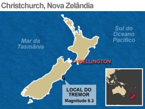 mapa terremoto nova zelândia (Foto: Arte/G1)