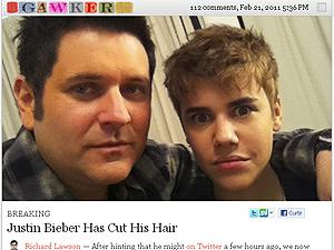 Justin Bieber e seu novo visual (Foto: Reprodução/Gawker)