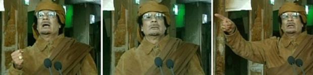 Kadhafi em pronunciamento (Foto: AP)