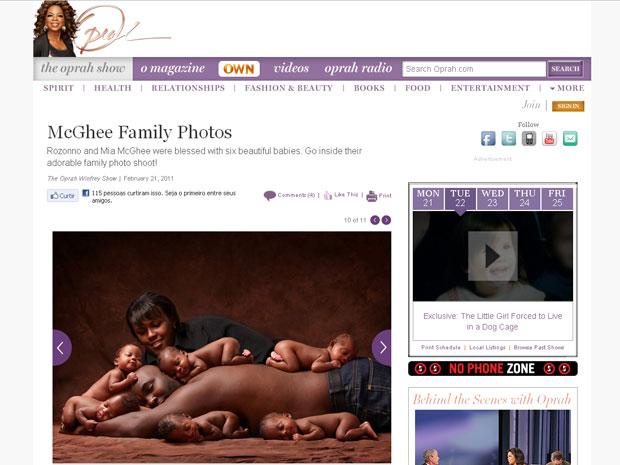 Fotos dos sêxtuplos com seus pais no site oficial do programa de Oprah Winfrey (Foto: Reprodução/oprah.com)