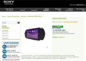 Loja virtual da Sony vende oficialmente o PSP, mas sem jogo (Foto: Reprodução)