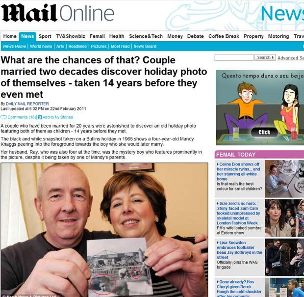 Ray e Mandy Knaggs encontraram foto em que aparecem próximo um do outro quando crianças. (Foto: Reprodução/Daily Mail)