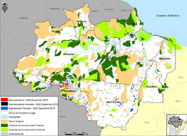 Mapa do Imazon mostra pontos de desmatamento detectados em dezembro. (Foto: Reprodução)
