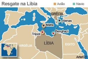 Mapa da Líbia (Foto: Editoria de Arte / G1)