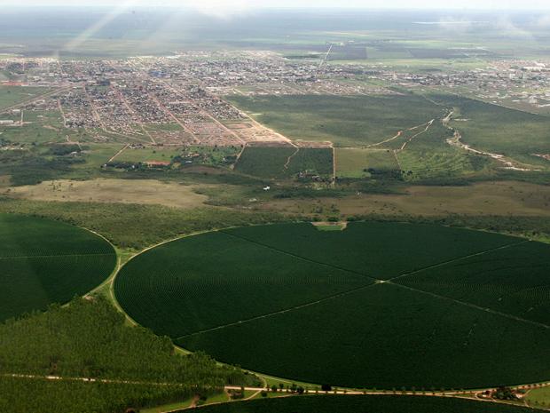 Imagem aérea mostra áreas plantadas na cidade de Luís Eduardo Magalhães (BA) (Foto: Hugo Harada/Gazeta do Povo)