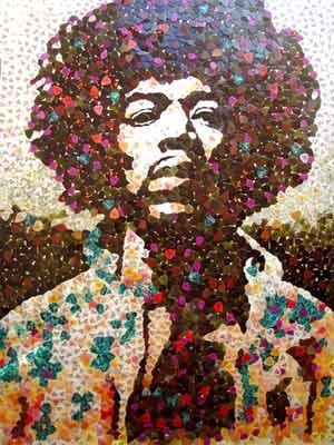 Misaico do guitarrista Jimi Hendrix feito com palhetas de guitarra (Foto: Divulgação/Site do artista)