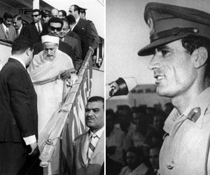 O rei Idris chega ao Egito, onde se exilou após o golpe de 1969, enquanto o coronel Kadhafi discursa para a população, em Trípoli (Foto: AFP)